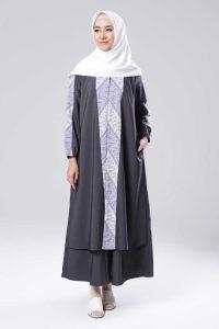Model Gamis Batik Kombinasi Kain Polos